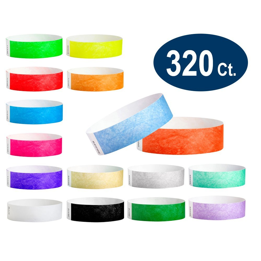 WristCo Ultimate Variety Pack 3/4 Tyvek Wristbands - 16 colors, 320 Ct Neon Green, Red, Blue, Orange, Yellow, Pink, Purple, Gold, Silver, Aqua, White, Black Pantone Green, Berry, Sky Blue, Coral Red