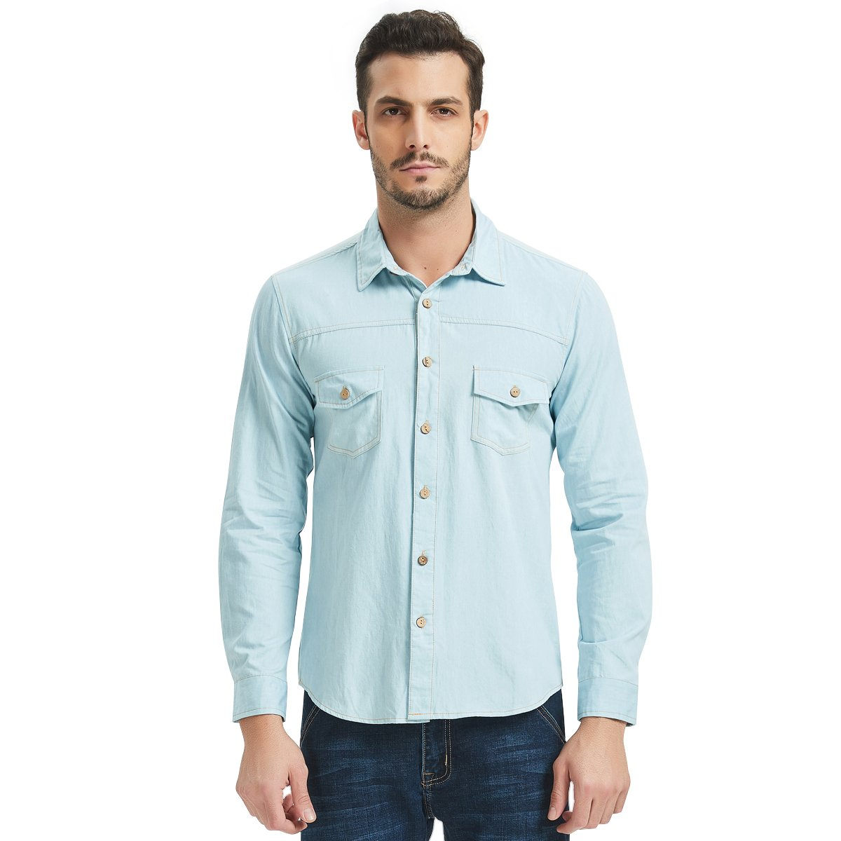 aaf5c4a1260 Men s Long Sleeve Denim Shirt - Premium cotton denim button-down shirt with  a 3D draping slim fitting design long sleeve