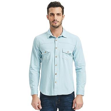 Men S Long Sleeve Denim Shirt 2 Pocket Button Down Casual Wear Faded