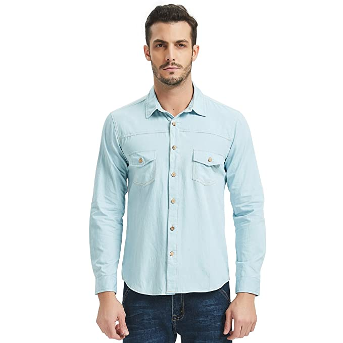 dda93c8659 Men s Long Sleeve Denim Shirt 2 Pocket Button Down Casual Wear Faded,Light  ...