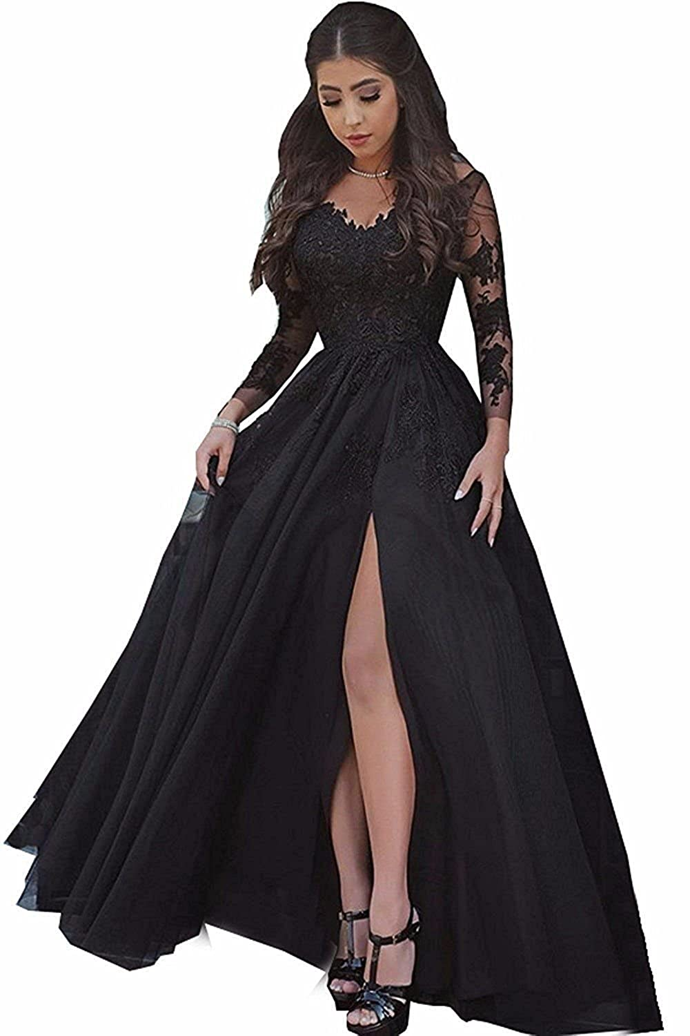 bd56ab029aac BessDress Lace Appliques Illusion Long Sleeves Prom Dresses Slit ...