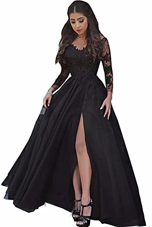 BessDress Lace Appliques Illusion Long Sleeves Prom Dresses Slit Evening Formal Party Gown BD460