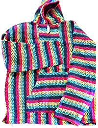 Striped Rasta Hoodie Woven Eco-Friendly Pullover (X-Large, Rasta)