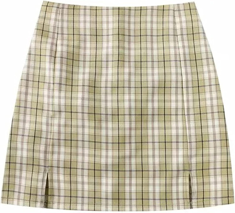 Faldas Plisadas para Mujer Primavera y Verano Cintura Alta a Cuadros Moda cómoda Estilo Y2k Falda Corta con Abertura Lateral