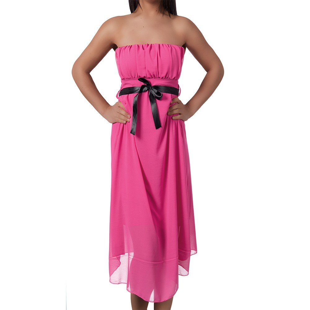 Diva-Jeans H920 Damen Kleid Chiffon Vokuhila Badeau Sommerkleid Abendkleid Ballkleid