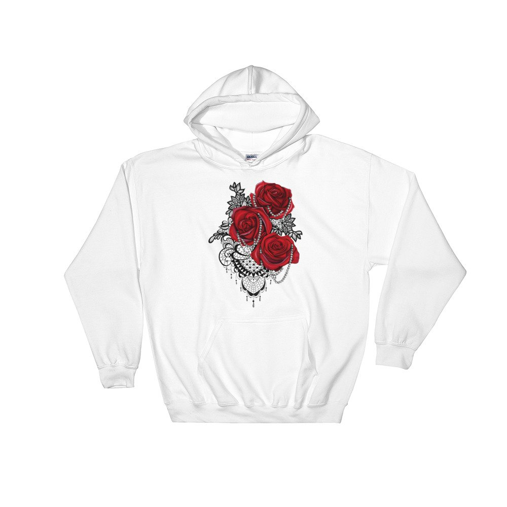 Freshwater Prints Shop Three Roses With Pearls and Lace Hooded Sweatshirt