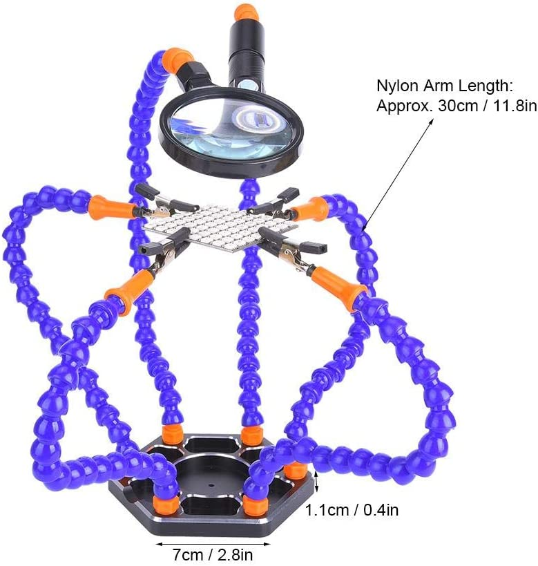 Nylonarm, Montageschl/üssel, Clip, Sockel, LED-Licht, Lupe flexible dritte Hand L/ötkolben-Zubeh/ör-Werkzeugs/ätze L/ötstation mit helfenden H/änden