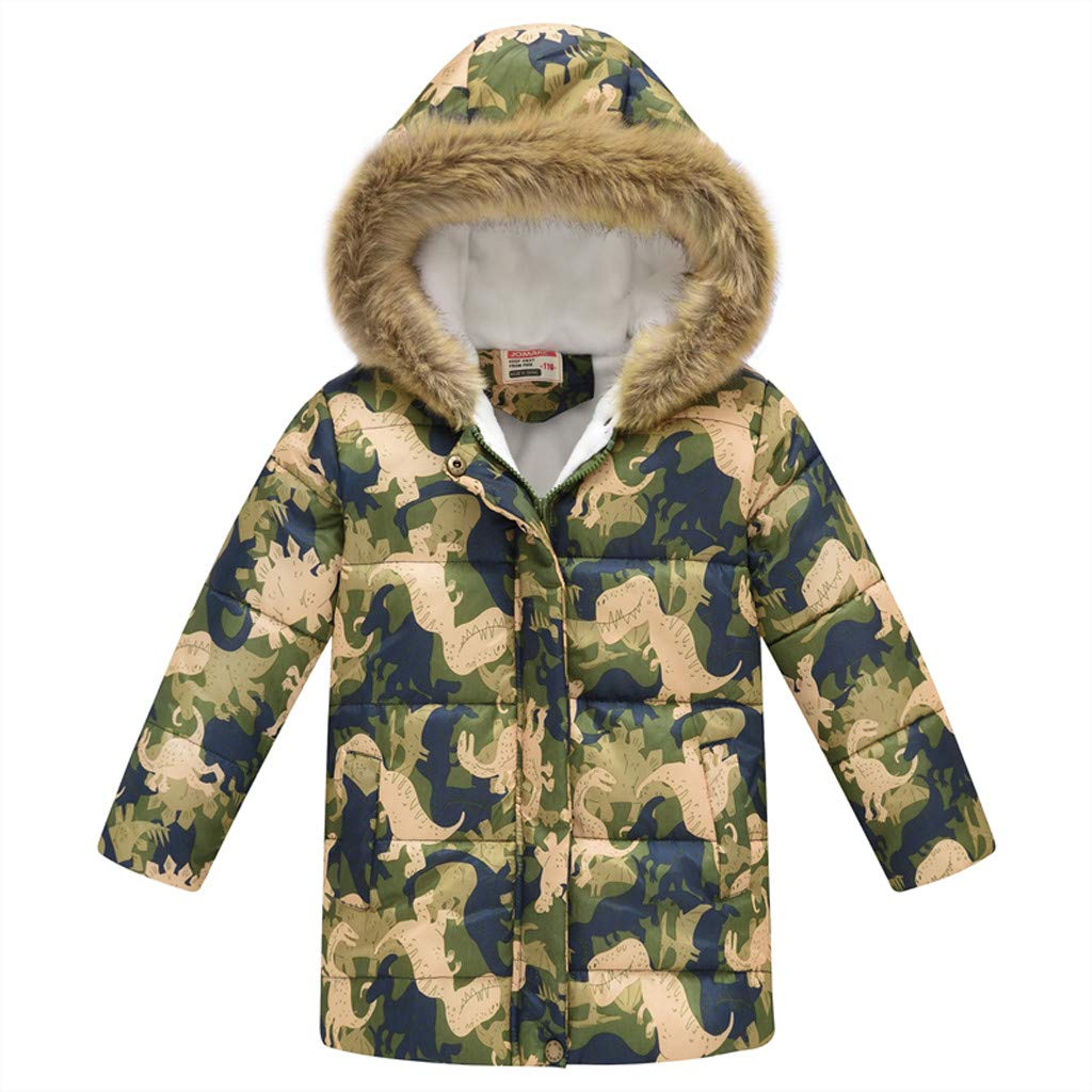 Girls' Winter Down Coat Puffer Jacket Padded Fleece Lining Faux Fur Hood Warm Butterfly Overcoat by Yuege Baby Clothes