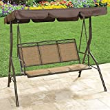 Brylanehome Extra Wide Textured Vinyl 3-Seat Swing (Taupe,0)
