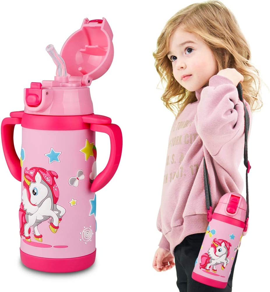 Kids Water Bottle With Straw Unicorn Thermoses Stainless Steel Insulated Vacuum Cup BPA Free Spillproof Thermal Water Cup For Girls School Lunch - With Handle And Shoulder Strap -12oz, Pink