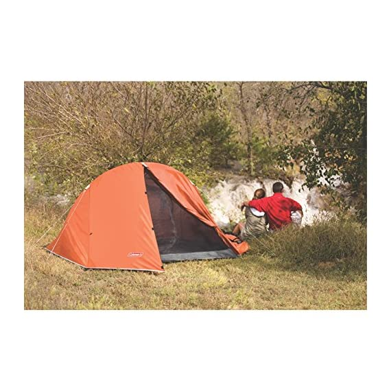 Coleman Hooligan Backpacking Tent 4 Sleeps 2 Main fly seams are factory taped Heavy duty 1000D polyethylene bathtub floor for extra durability and welded leak proof seams