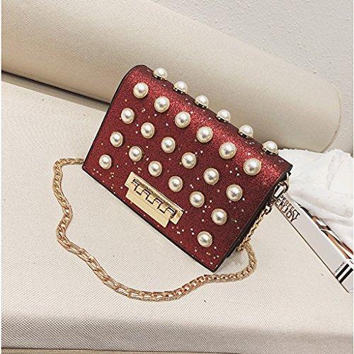 Handbag Bolso de Verano, Bolso de Hombro Coreano de la Nueva Perla, Bolso de Mensajero. A+ (Color : Metalico) Red