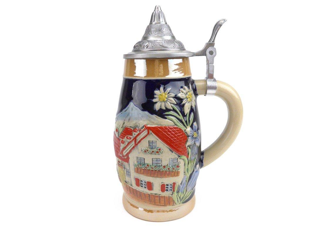 Beer Stein Alpine Village Lidded Beer Mug by E.H.G | .55 Liter