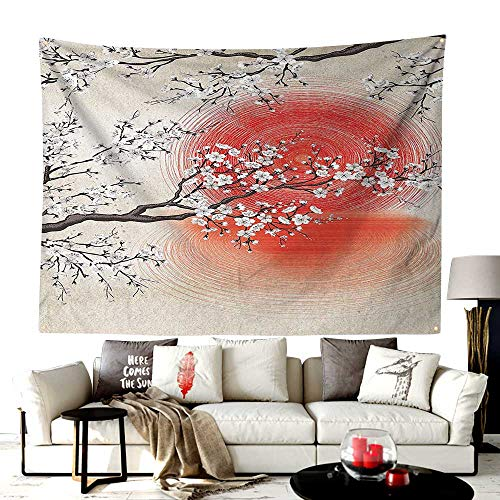 UNOSEKS-Home Custom Made San Diego Tapestry,Japanese Sun and Reflection Shadow Design Patterns Cream Pearl,Printed Tapestry for Office Decoration,40W X 30L Inches Beige Brown Red -