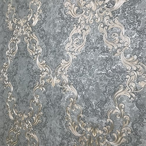 paste the wall only Embossed Slavyanski wallcoverings victorian large diamond damask pattern Vinyl Non-Woven Wallpaper silver blue teal with green and grey hue bronze metallic textured 3D modern ()
