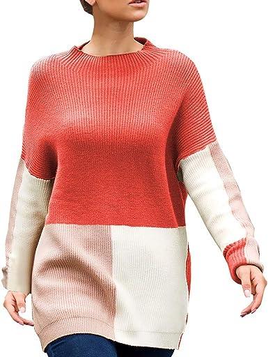 Mujer Otoño Invierno Primavera Jerséis Sudadera Pullover Casual Suelto Cuello Redondo Blusa De Bloque Color Superior Suéter De Manga Larga para Mujer JORICH (Rojo, S Bust:104cm/40.94): Amazon.es: Ropa y accesorios
