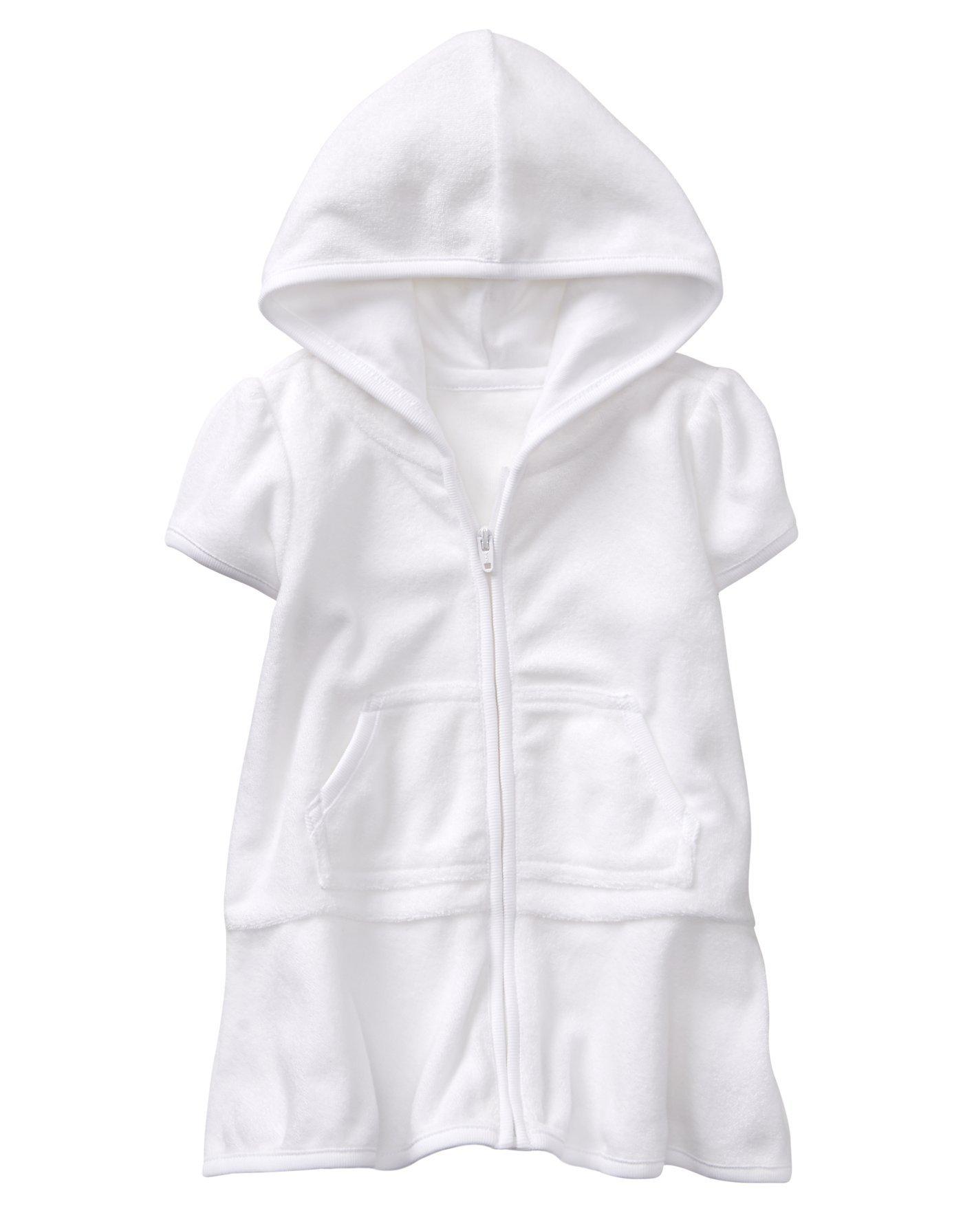 Gymboree Girls' Toddler Hooded Swim Cover Up with Kangaroo Pocket, White, 18-24 mo