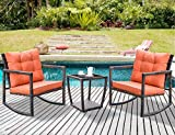 Leisure Zone 3 PCS Wicker Patio Rocking Chair Armchair Outdoor Porch Deck All Weather Gliding Rocker with Coffee Table and Cushions (Orange Cushion)