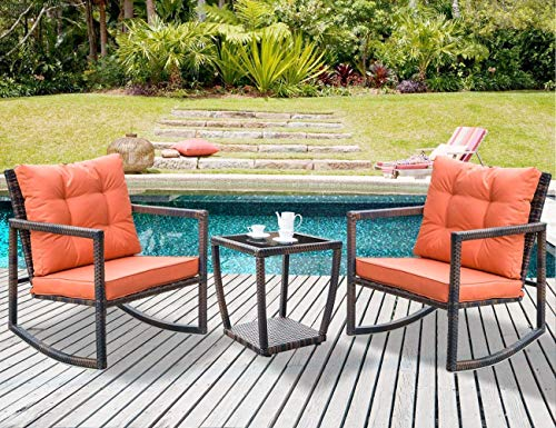Outdoor Back Rocker Low - Leisure Zone 3 PCS Wicker Patio Rocking Chair Armchair Outdoor Porch Deck All Weather Gliding Rocker with Coffee Table and Cushions (Orange Cushion)