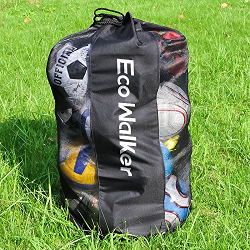 Eco Walker Ball Bag Large Capacity (Holds 16 Soccer Balls) Heavy Duty Mesh Drawstring with Adjustable Shoulder Strap and Thick Handle