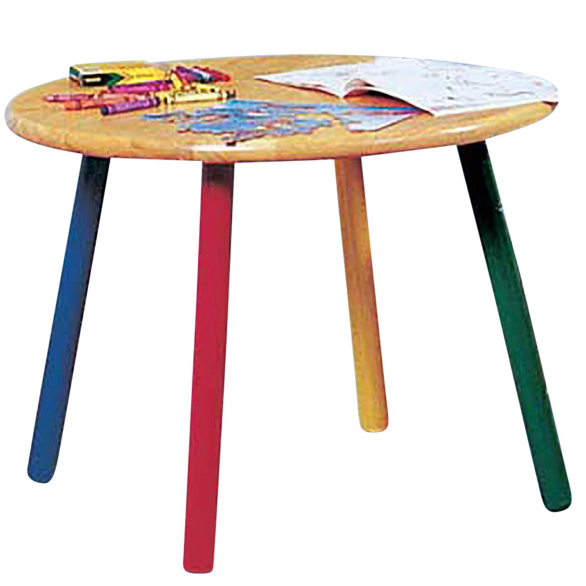 Renovator's Supply Children's Table Hardwood Round Table Colorful Painted Legs