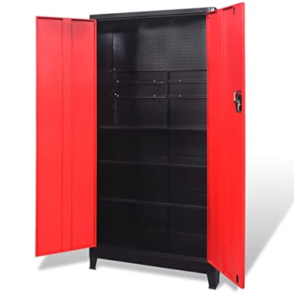 Amazon Com Vidaxl Tool Cabinet Steel Black Red Tools Storage
