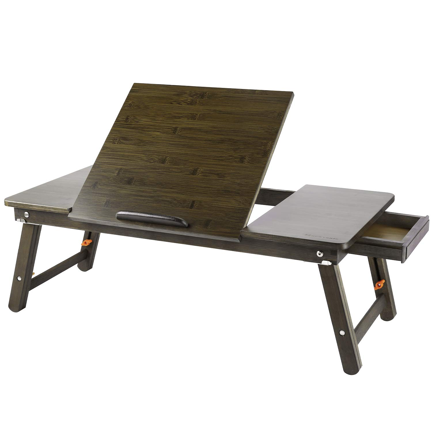 Laptop Desk Nnewvante Bamboo Laptop Table Adjustable Lap Tray Bed Serving Tray Breakfast Table Foldable Coffee Tea Table 5 Tilting Top Angles 2 Latches Prevent Leg Wobbling Large 27.95'' x 13.8'' Retro