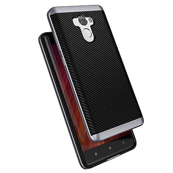 Xiaomi Redmi 4 Funda , ivencase Prima Híbrido Anti-rasguños Marco Bumper Carcasa Doble Capa Fibra de Carbono para Xiaomi Redmi 4 5.0