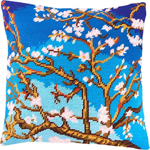 Almond Blossom by Vincent Van Gogh. Cross Stitch Kit. Throw Pillow Case 16×16 Inches. Home Decor, DIY Embroidery Needlepoint Cushion Cover Front, Printed Tapestry Canvas, European Quality. Painting