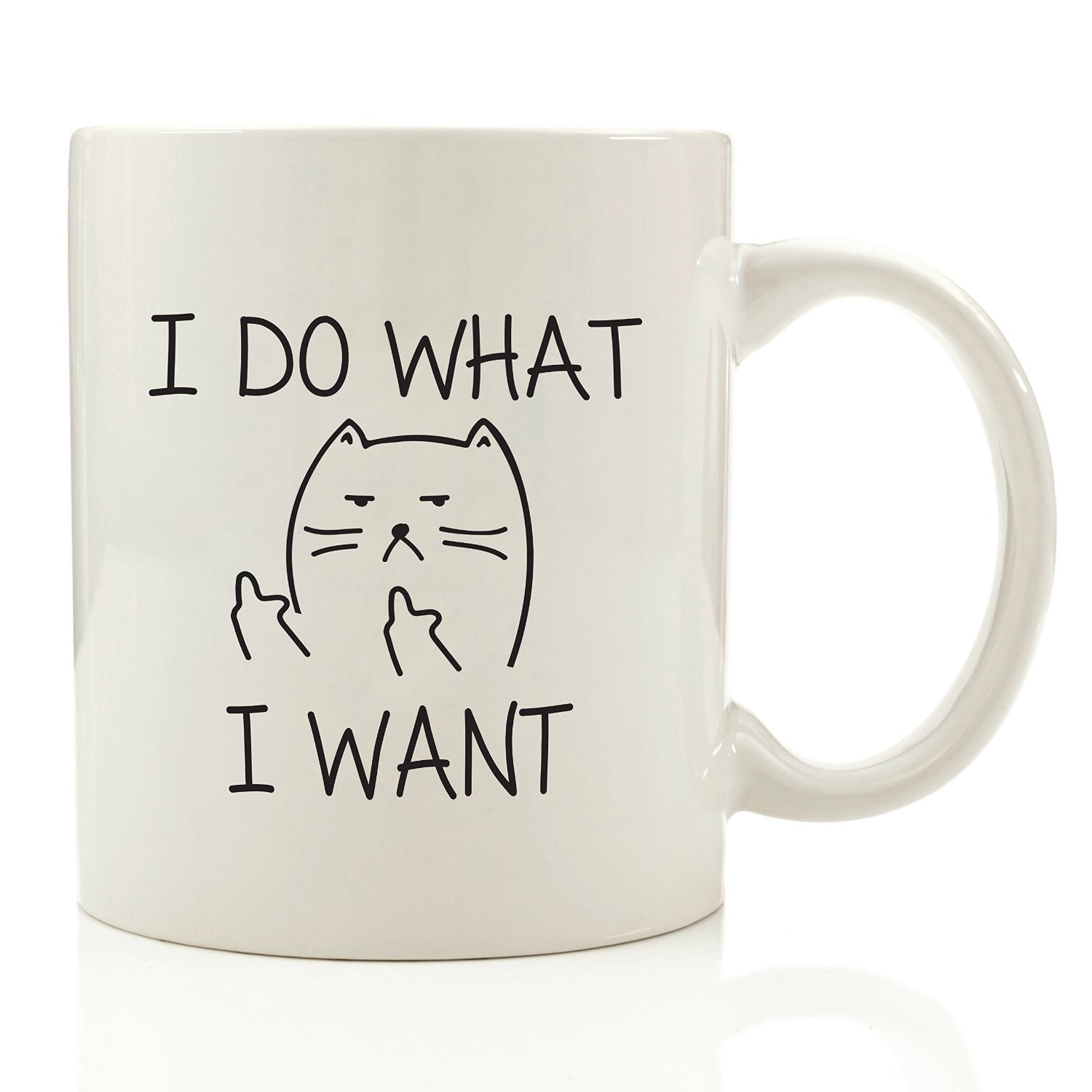 Coffee cups funny - I Do What I Want Funny Coffee Mug Cat Middle Finger 330 Ml Birthday Gift For Men Women Him Or Her Best Office Cup Christmas Present Idea For