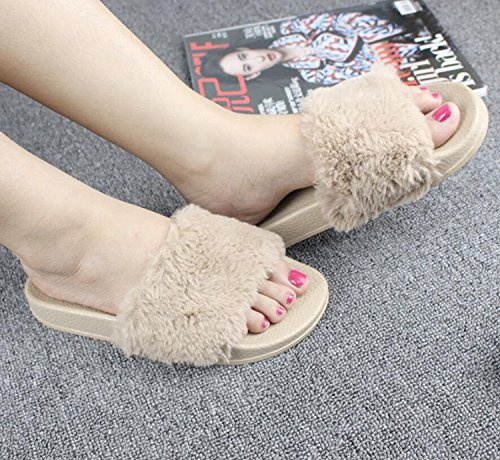 Comfort Casual Grey de Zapatos para Camel y Zapatillas Mujer Zapatos caseros Feather Pink Toe Winter DANDANJIE Black Chanclas Open Fur Camel ZYOxZw