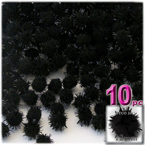 (The Crafts Outlet Chenille Sparkly Pom Poms, Black porcupine, 0.5-inch (12mm), 10-pc, Black)