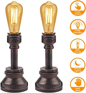 Industrial Desk Lamp Set of 2 Touch Control 3 Way Dimmable Industrial Lamp with Vintage Edison Bulb Water Pipe Steampunk Lamp Iron Vintage Desk Lamp for Bedroom Bedside Living Room Cafe Bar House