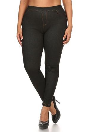 cf5f23ebcfff2 chandly Women s Plus Size Fleece Lined Real Pocket Jeggings Jean  Leggings-XL-Black