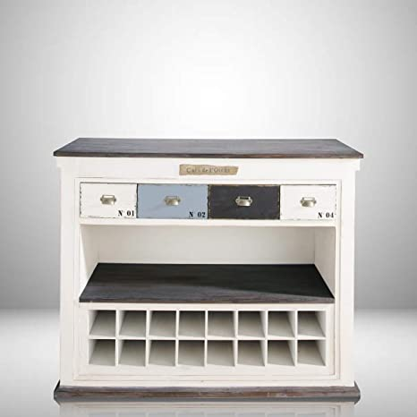 Aprodz Mango Wood Kenny Wine Storage Stylish Bar Cabinet for Bar Decoration | White Finish