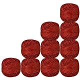Set of 10 Pcs Red With Metallic Gold Cotton Crochet Thread For Cross Stitch Knitting Tatting Doilies Skeins Lacey Craft Yarn