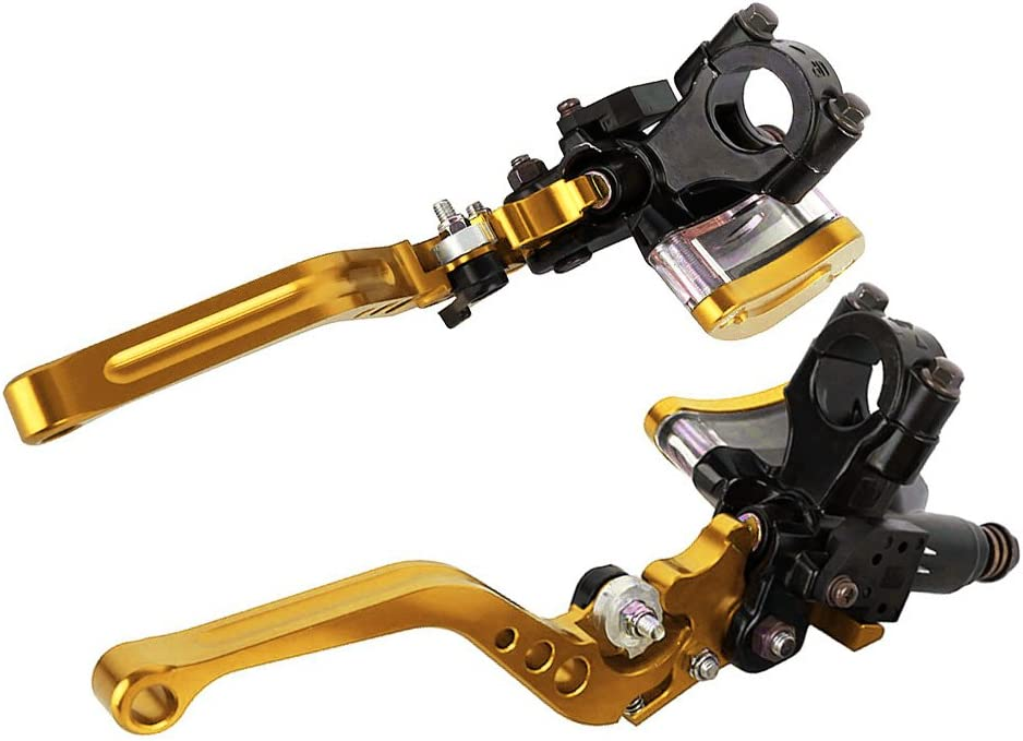 Cnc Aluminium 7 8 22mm Motorrad Hydraulische Bremse Kupplungshebel Set Mit Hauptbremszylinder Reservoir Gold Auto