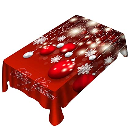 Christmas Tablecloths.Vacally Red Christmas Tablecloths With Colorful Print Rectangle Table Cover For Home Holiday Christmas Party Decor Dining Room Restaurant Kitchen