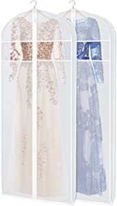 """Zilink Dress Garment Bags for Storage 72-inch with Clear Window and 3"""" Gusset Dust-Free Dress Cover Bag for Long Evening Dresses,Fur Coat, Long Dress Gown Closet Storage"""