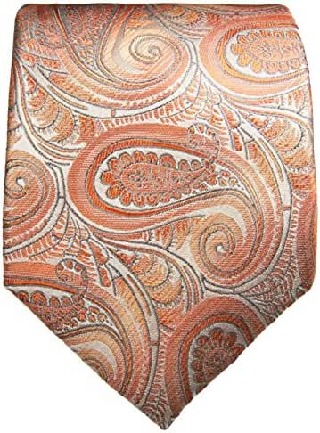 100% Silk Tie and Pocket Square . Coral Paisley