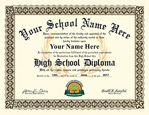 Amazon.com : High School Diploma - Personalized with your Info ...