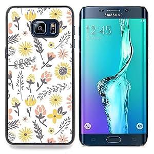 """For Samsung Galaxy S6 Edge Plus / S6 Edge+ G928 Case , Flores amarillas Feliz Melocotón blanco"""" - Diseño Patrón Teléfono Caso Cubierta Case Bumper Duro Protección Case Cover Funda"""