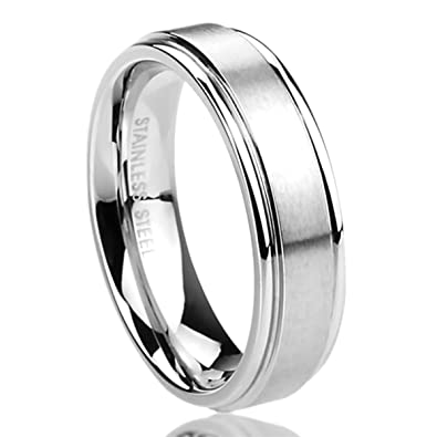 6MM Stainless Steel Mens Womens Rings Brushed Center Classy