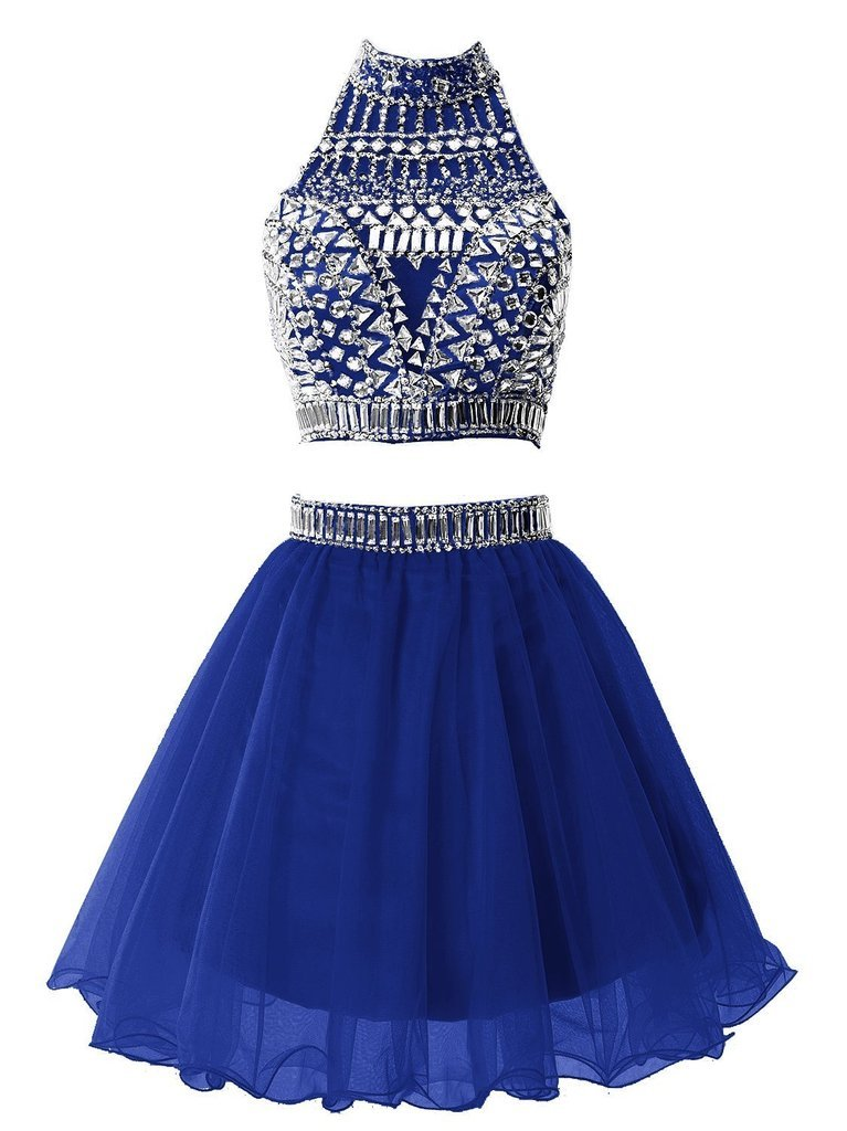 Snowskite Women's Short Two Pieces Beading Tulle Homecoming Prom Dress Royal Blue 12