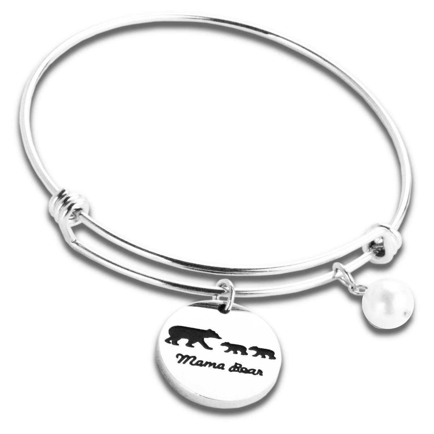 6f0f8ef9e Mother Bear Bracelet Mother's Day Bracelet Mama Bear Bangle Bracelet with 1  Cub Adjustable with Charm Engraved Baby Bear