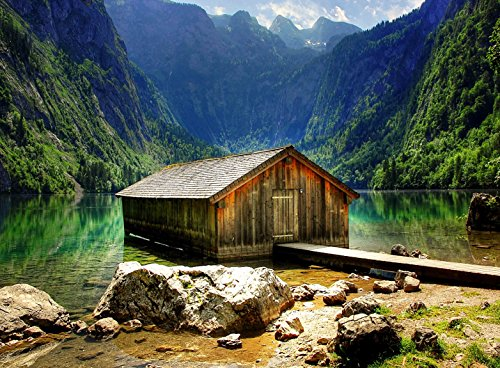 Adult Jigsaw Puzzle Wood Cabin Lake Mountains Alpine Bavaria Germany 500-Pieces