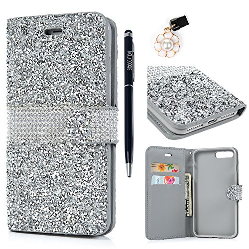 MOLLYCOOCLE iPhone 7 Plus Case, iPhone 8 Plus Case, Handcraft Luxury 3D Bling Rhinestone PU Leather Wallet Flip Protective Case with Magnetic Bling Button Closure for iPhone 7 Plus, 8 Plus, (Bling Rhinestone)