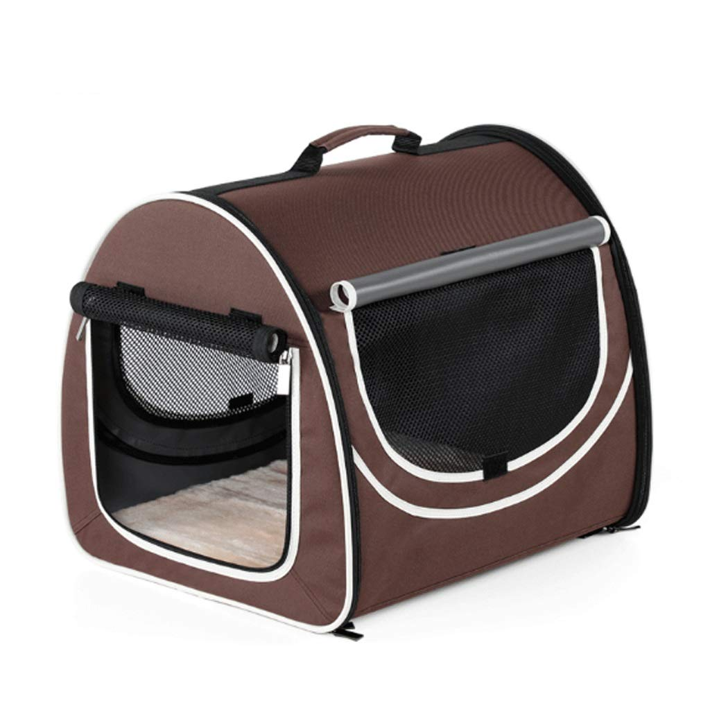 Coffee color+white side S Coffee color+white side S GJ Pet Handbag Out Portable Car Bag Kennel Cat Cage Travel Bag Foldable