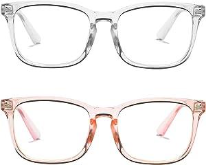 SCVGVER 2 Pack Blue Light Blocking Glasses for Women Square Nerd Eyeglasses Frame Anti Blue Ray Computer Gaming TV Phones Glasses (Transparent + Transparent Pink)