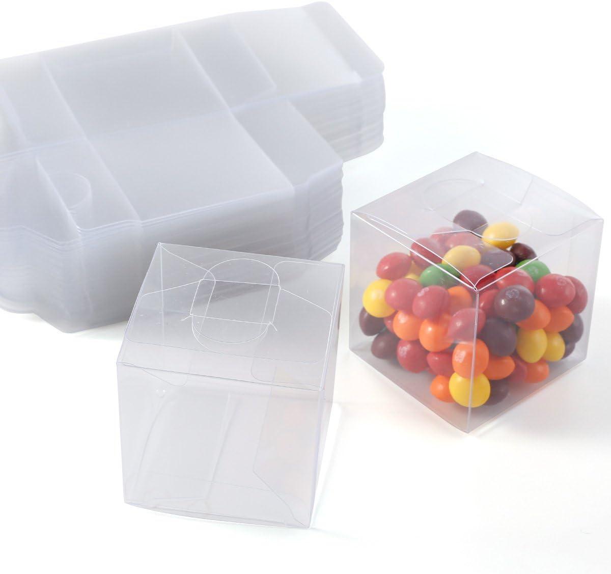Set de 50/100 Cajas para dulces bombones Cajita cuadrada transparente Plástico para boda regalo Clear Cube Gift Boxes PVC (100)
